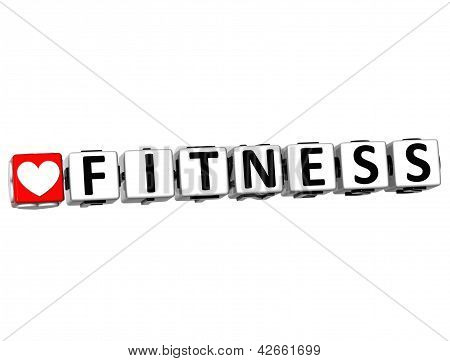 3D Love Fitness Button Click Here Block Text