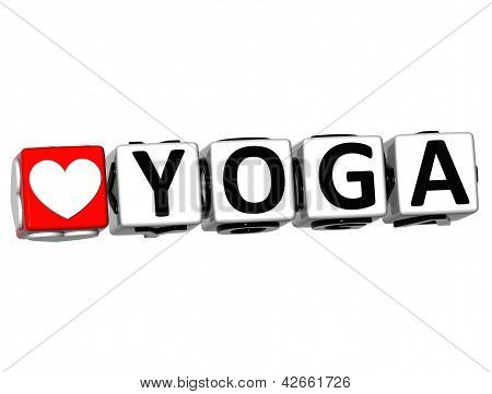 3D Love Yoga Button Click Here Block Text