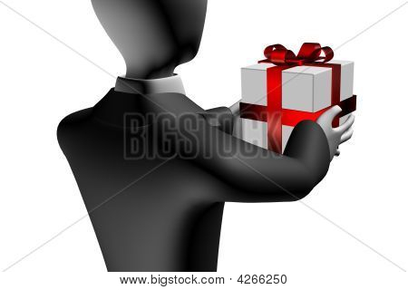Business Man With Gift