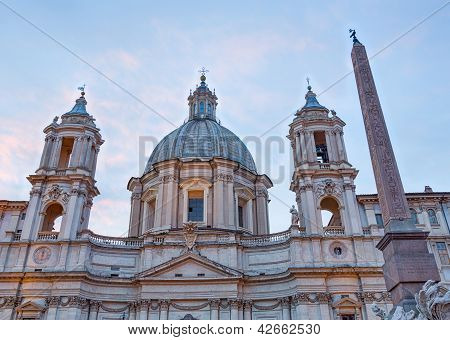 Dusk In Famous Piazza Navona