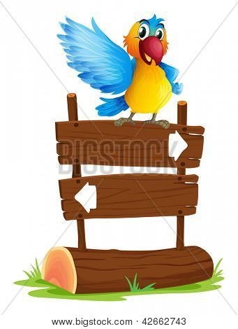 Illustration of a colorful bird and the signboard on a white background