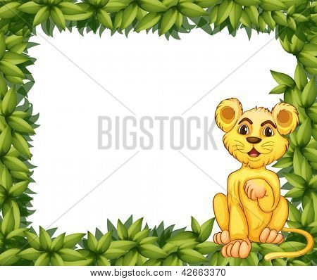 Illustration of a yellow tiger in a leafy frame