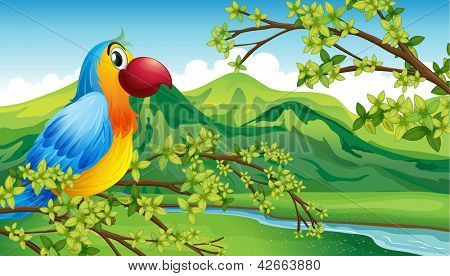 Illustration of a parrot on a branch of a tree