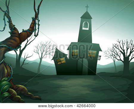 Illustration of the grave yard