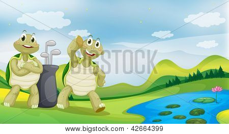 Illustration of two turtles near the river