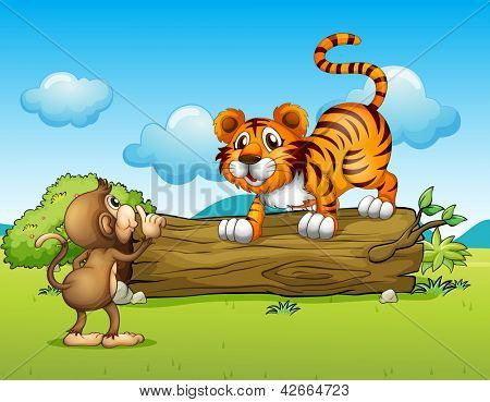 Illustration of a monkey and a tiger