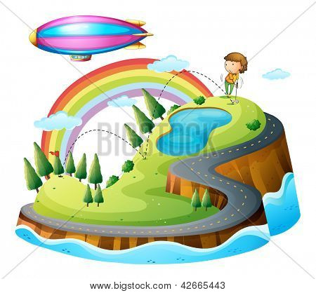 Illustration of a boy playing golf and a blimp