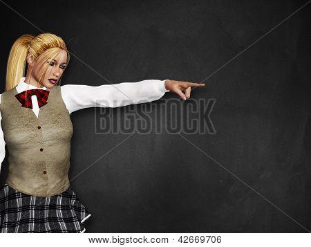 Blonde Girl At Black Board