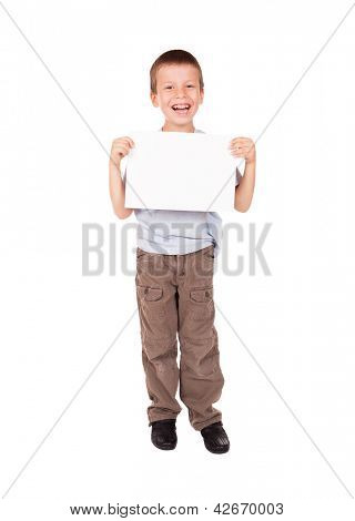 smiled boy with blank sheet paper