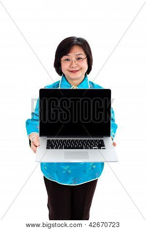 Chinese Woman Showing A Laptop