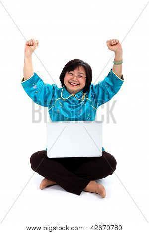 Happiest Chinese Woman With Laptop