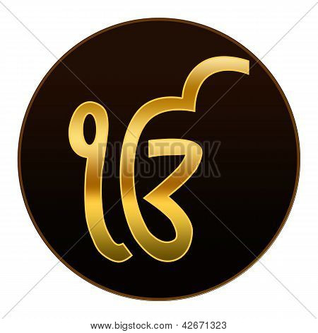 Ek Onkar - Golden symbol in dark background