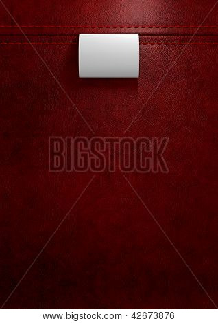 Broad Clothing Label In Red Leather