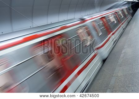 Detail Of Metro Train In Station
