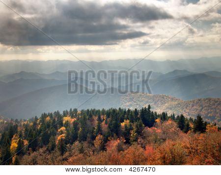 Rays Of Autumn Sunlight Over The Blue Ridge Mountains