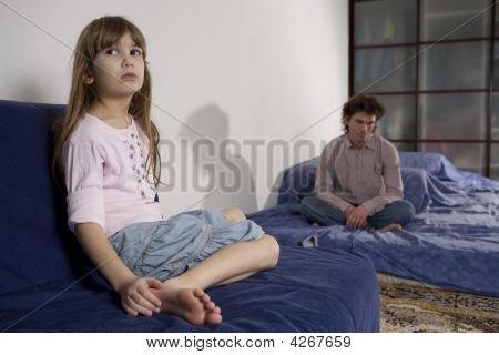 Naughty Girl, Father Attempting To Discipline His Daughter