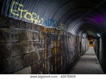 Urban Walkway with Graffiti