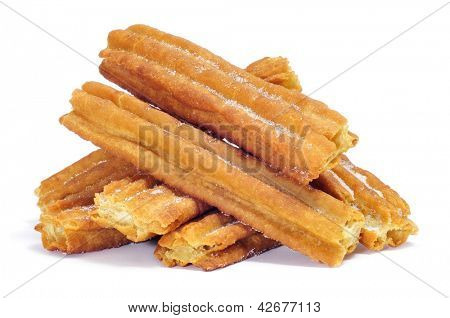a pile of porras, thick churros typical of Spain