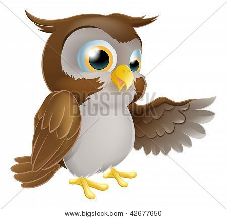 Pointing Owl Character