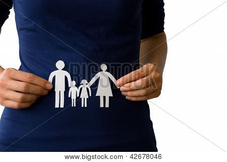 Hands Holding A Paper Chain Family