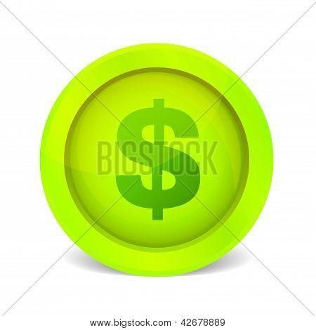 Dollar glossy icon.