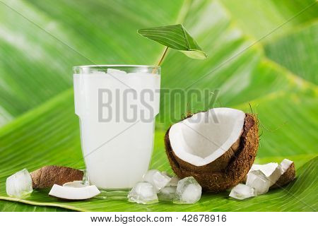 Refreshing coconut milk drink or cocktail with ice and coconuts on banana leaves