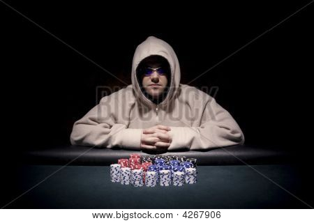 Poker Player With Chips