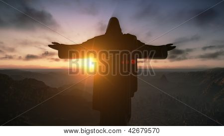 Christ The Redemeer At Sunrise, Rio De Janeiro, Brazil, 3D Render
