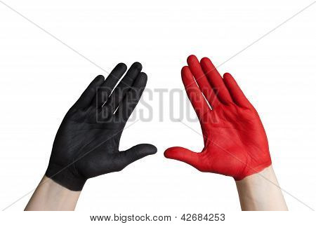 A Black And A Red Hand