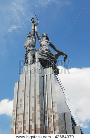 MOSCOW, RUSSIA - JUNE 2011: Monument Worker and Kolkhoz Woman on June 2011 in Moscow.