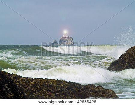 Terrible Tilly Lighthouse On Oregon Coast With Light Shining