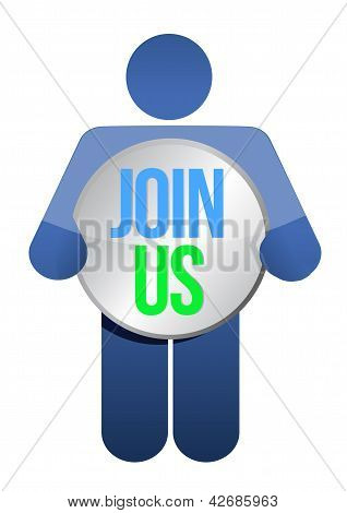 Man, Person With A Button ' Join Us'. Businessman