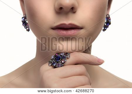 Closeup Fashion Portrait Of Young Beautiful Woman