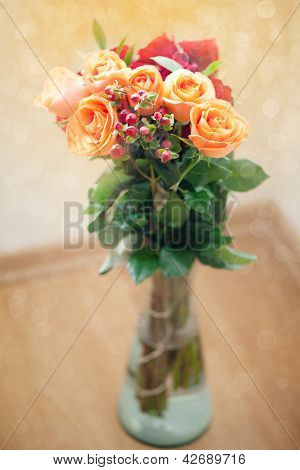 Bouquet Of Colorful Roses In Vase With Bokeh