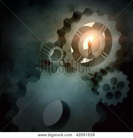 Image of businessman silhouette standing in picture of some mechanism