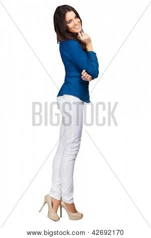 Fashion model wearing jeans shirt with emotions