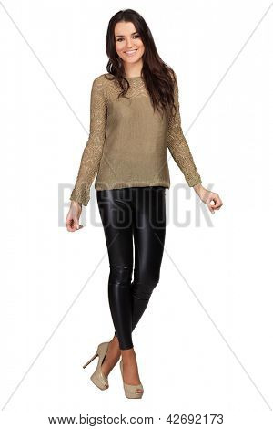 Elegant glamour woman wearing brown blouse and leggins