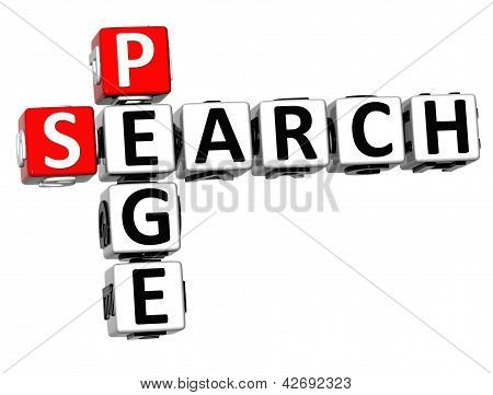 3D Search Page Crossword On White Background