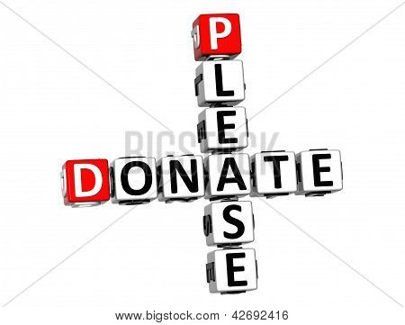 3D Please Donate Crossword On White Background