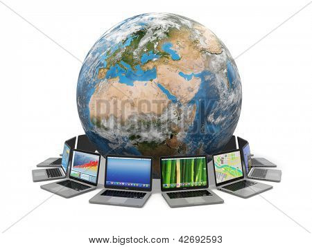 Internet. Global communication. Earth and laptop on white isolated background. 3d Elements of this image furnished by NASA
