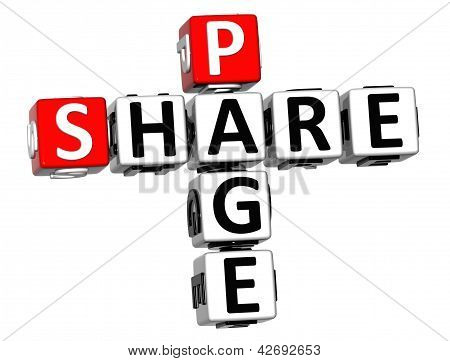 3D Share Page Crossword On White Background