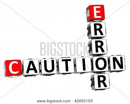 3D Caution Error Crossword On White Background