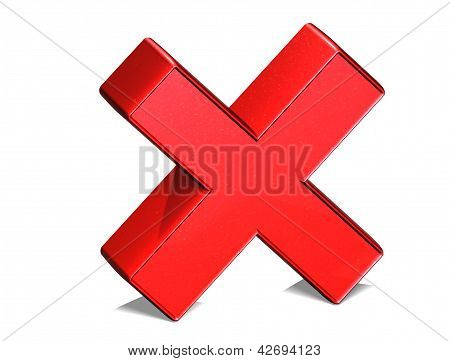 3D Letter X Red Sign On White Background