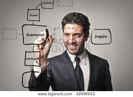 handsome businessman writing