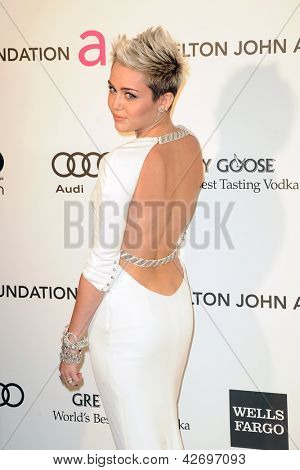LOS ANGELES - FEB 24:  Miley Cyrus arrives at the Elton John Aids Foundation 21st Academy Awards Viewing Party at the West Hollywood Park on February 24, 2013 in West Hollywood, CA