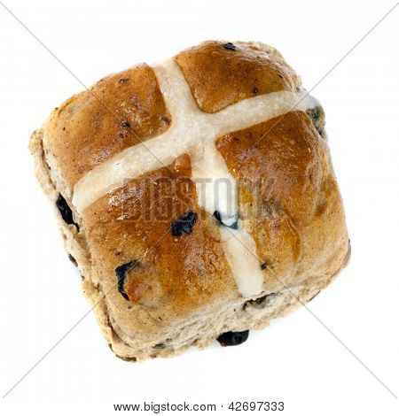 Hot cross bun, isolated on white background.  Delicious Easter treat.