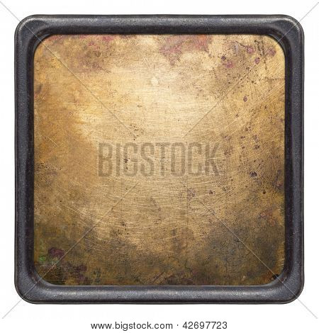 Brass plate texture in a frame. Old metal background.