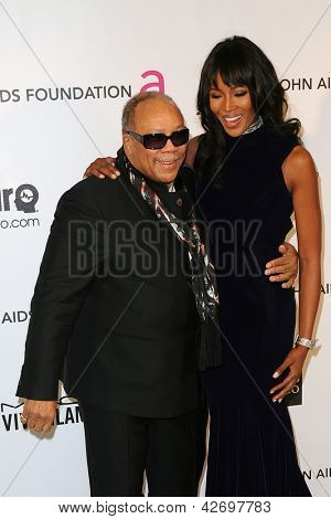 LOS ANGELES - FEB 24:  Quincy Jones, Naomi Campbell arrive at the Elton John Aids Foundation 21st Academy Awards Viewing Party at the West Hollywood Park on February 24, 2013 in West Hollywood, CA