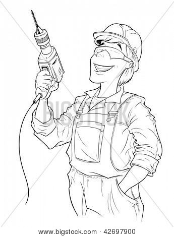 builder with drill vector illustration isolated on white background. Vector Illustration.