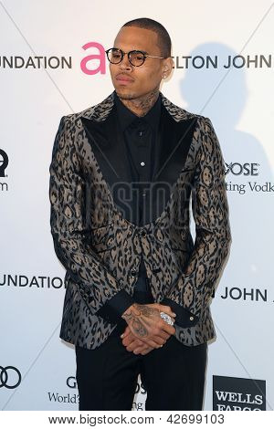 LOS ANGELES - FEB 24:  Chris Brown arrives at the Elton John Aids Foundation 21st Academy Awards Viewing Party at the West Hollywood Park on February 24, 2013 in West Hollywood, CA